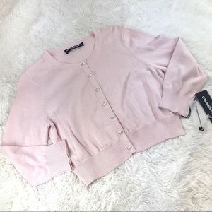 NWT Karl Lagerfeld Pink Cotton Cropped Cardigan